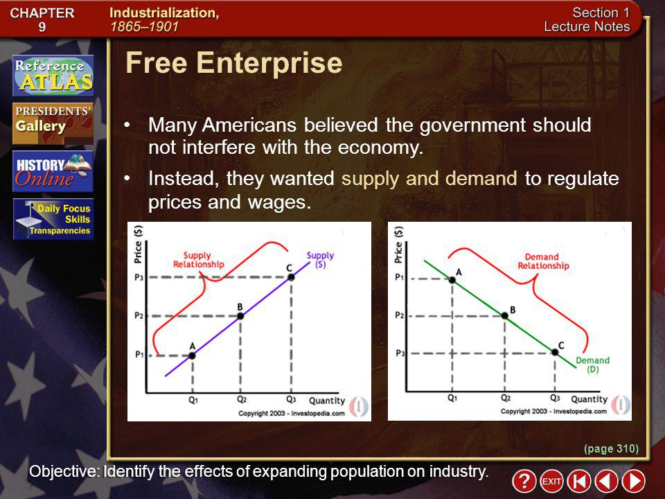 Section 1-9 (page 310) Free Enterprise Many Americans believed the government should not interfere with the economy.