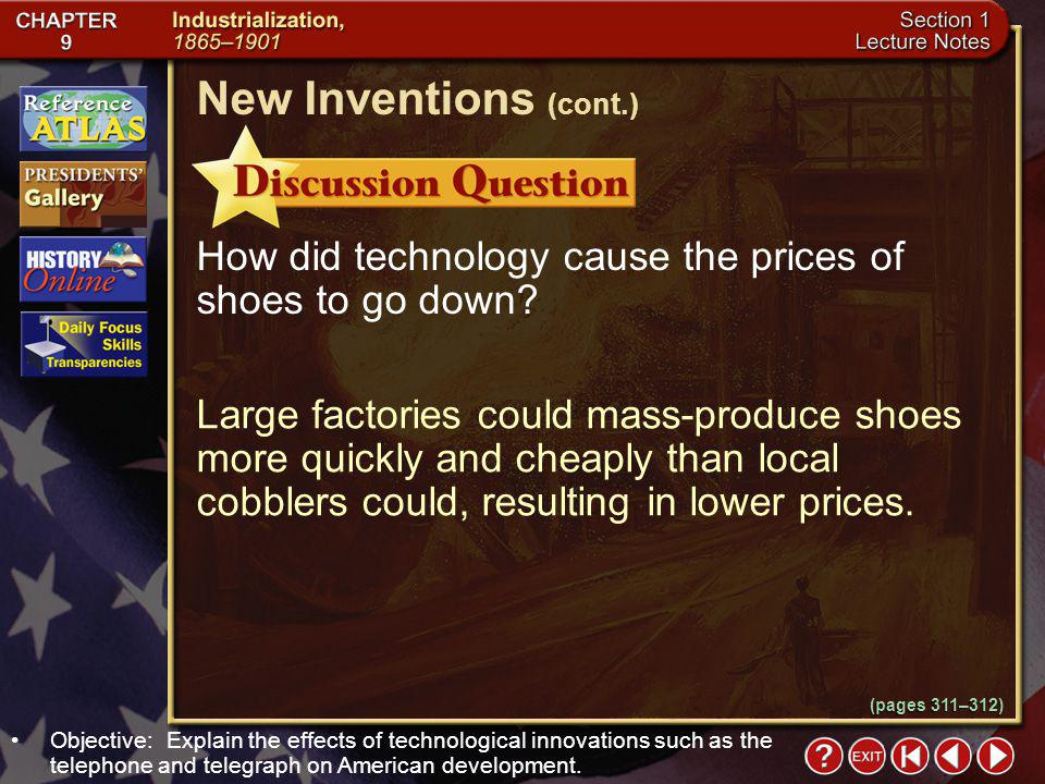 Section 1-20 How did technology cause the prices of shoes to go down.