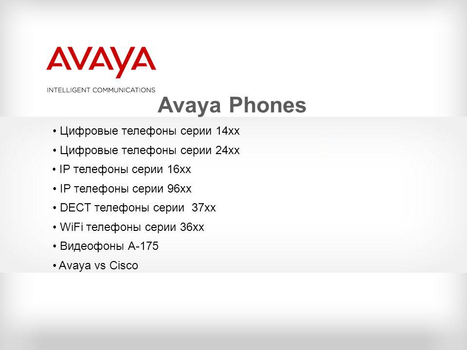 Avaya Phones Цифровые телефоны серии 14хх Цифровые телефоны серии 24хх IP телефоны серии 16хх IP телефоны серии 96хх DECT телефоны серии 37хх WiFi тел