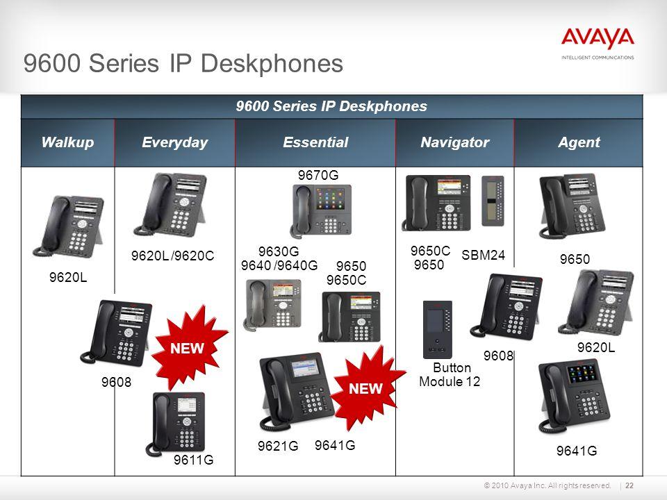© 2010 Avaya Inc. All rights reserved.22 9600 Series IP Deskphones WalkupEverydayEssentialNavigatorAgent 9650C 9650 SBM24 9650 9620L 9630G 9640 /9640G
