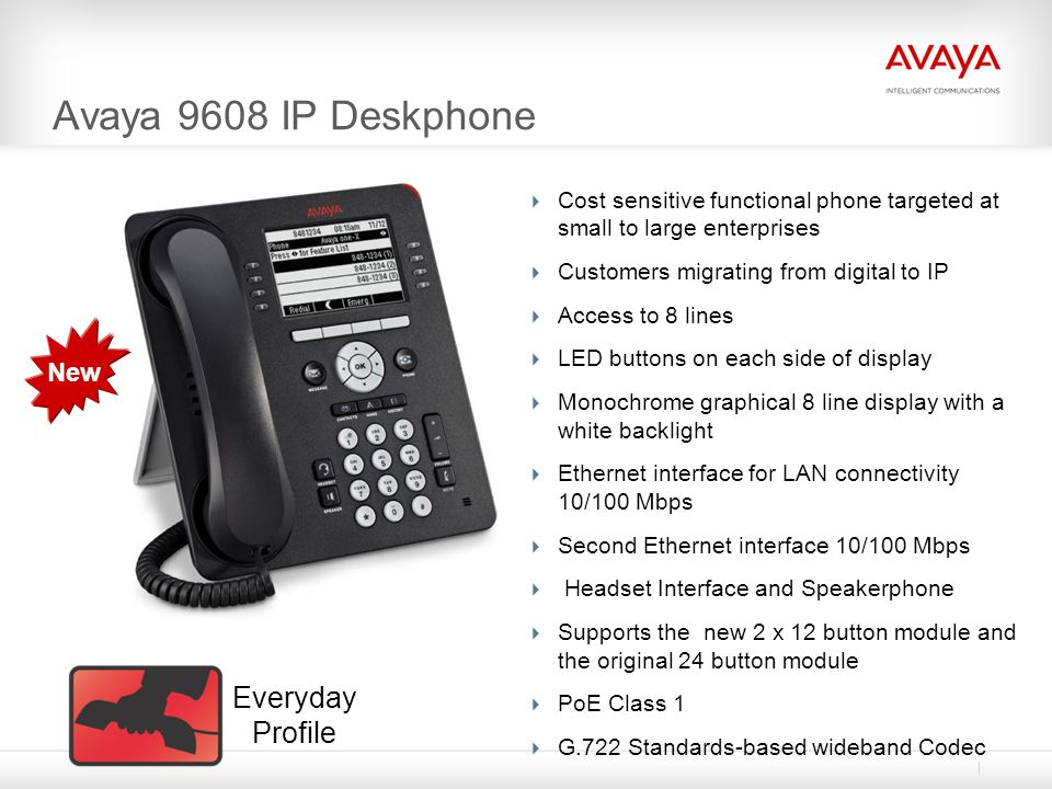 Avaya 9608 IP Deskphone Cost sensitive functional phone targeted at small to large enterprises Customers migrating from digital to IP Access to 8 line