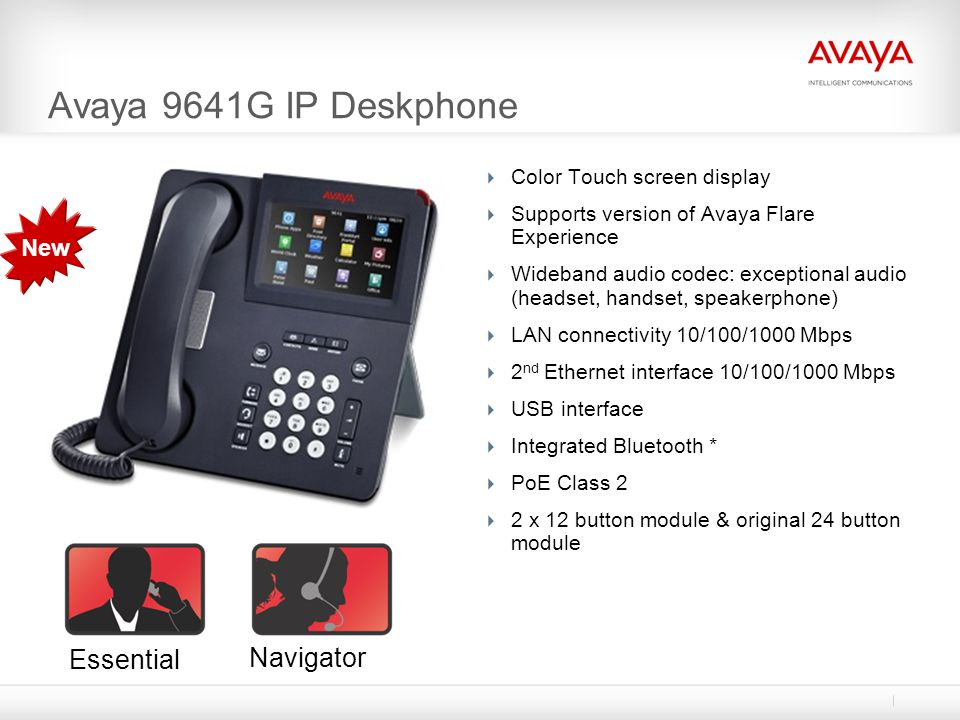 Avaya 9641G IP Deskphone Color Touch screen display Supports version of Avaya Flare Experience Wideband audio codec: exceptional audio (headset, hands