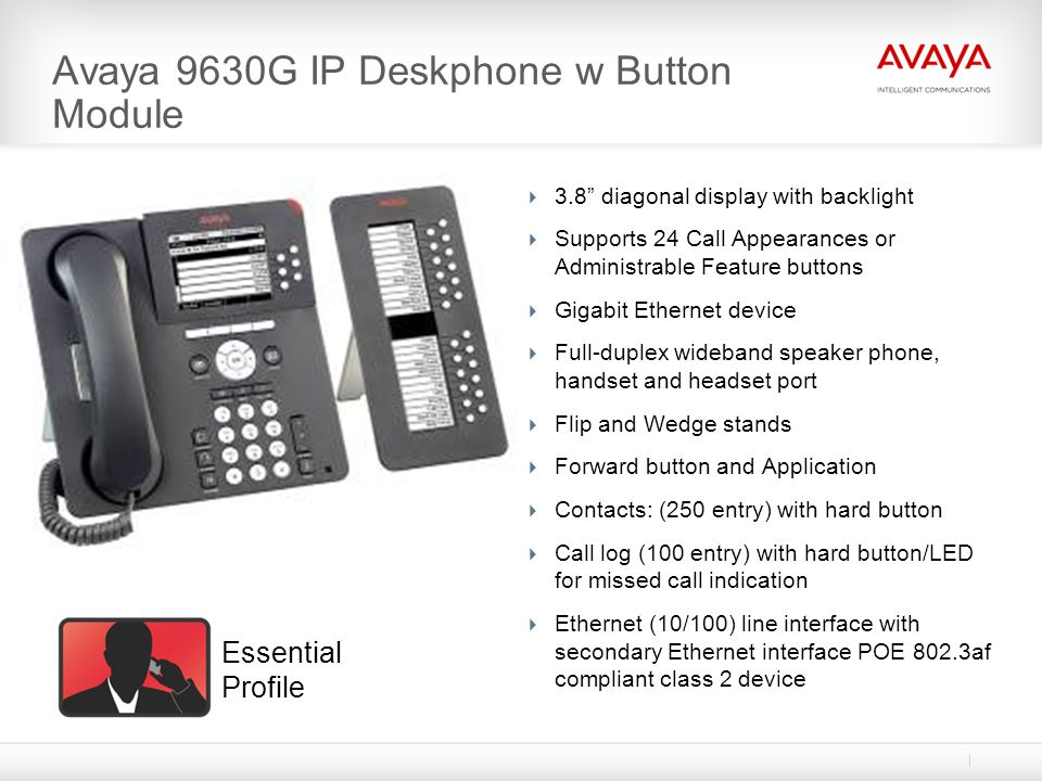 Avaya 9630G IP Deskphone w Button Module 3.8 diagonal display with backlight Supports 24 Call Appearances or Administrable Feature buttons Gigabit Eth