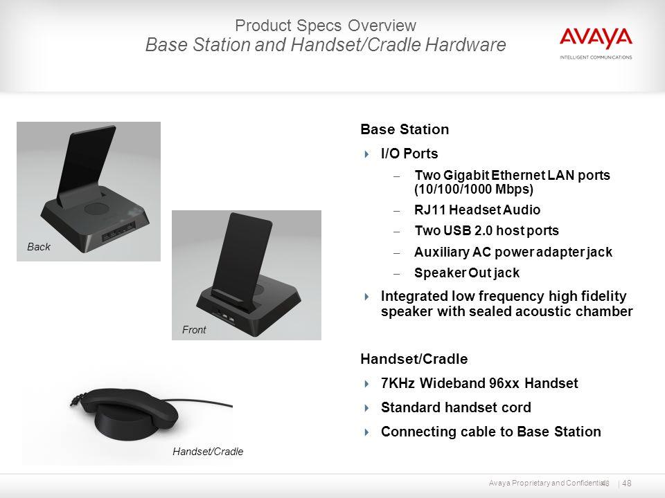 48 Base Station I/O Ports – Two Gigabit Ethernet LAN ports (10/100/1000 Mbps) – RJ11 Headset Audio – Two USB 2.0 host ports – Auxiliary AC power adapt