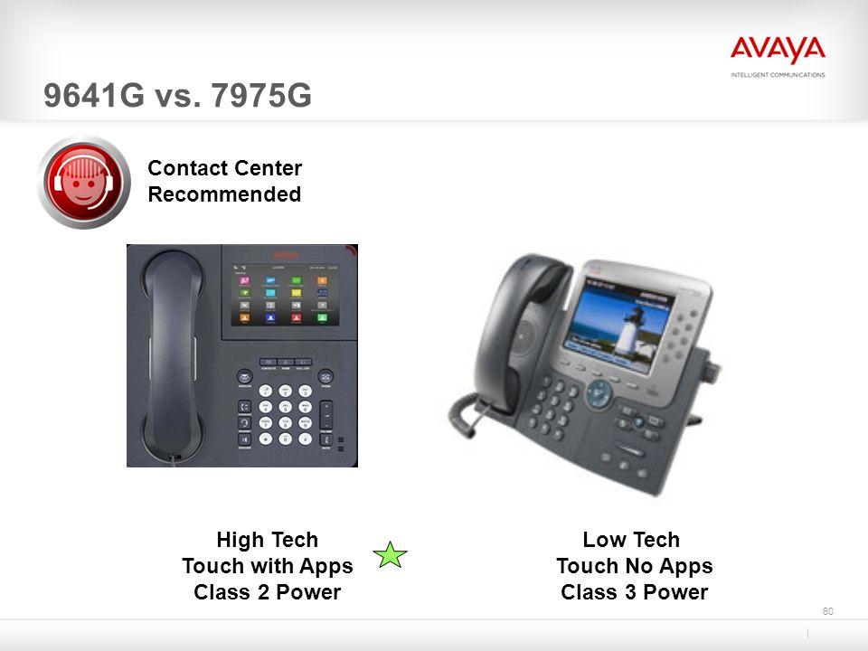 60 9641G vs. 7975G Low Tech Touch No Apps Class 3 Power High Tech Touch with Apps Class 2 Power Contact Center Recommended