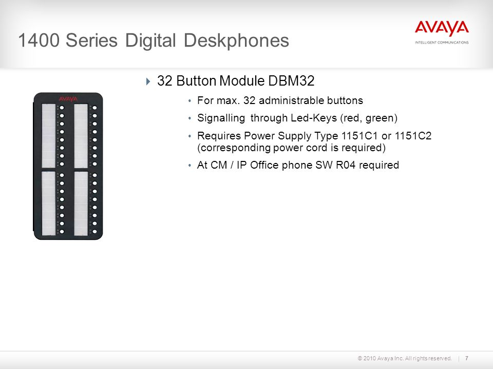 © 2010 Avaya Inc. All rights reserved.7 1400 Series Digital Deskphones 32 Button Module DBM32 For max. 32 administrable buttons Signalling through Led