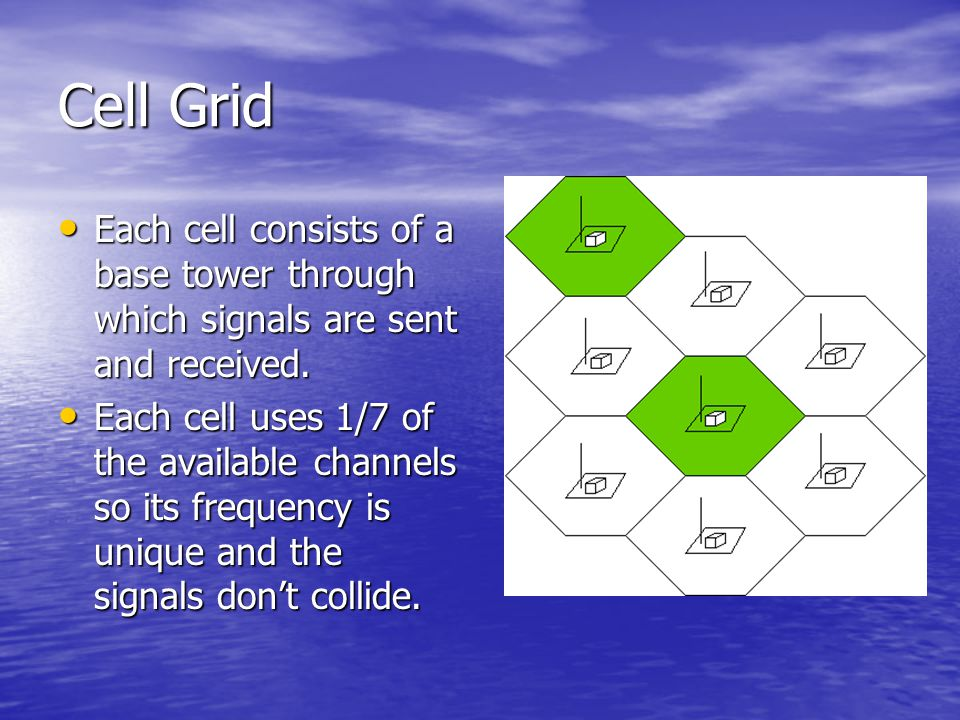 Cell Grid Each cell consists of a base tower through which signals are sent and received.