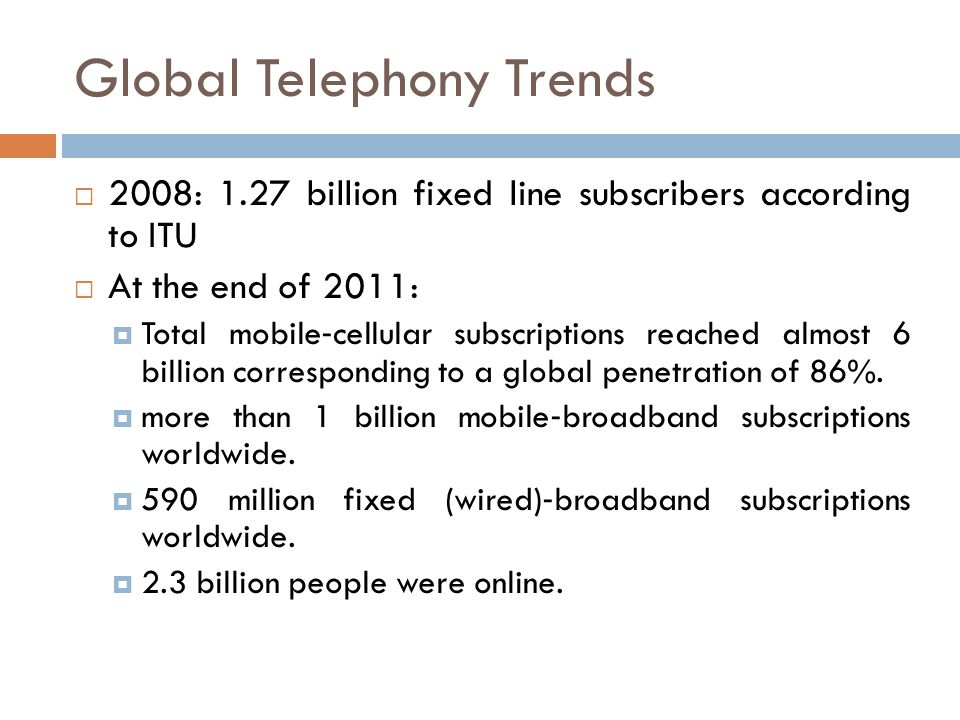 Global Telephony Trends 2008: 1.27 billion fixed line subscribers according to ITU At the end of 2011: Total mobile cellular subscriptions reached alm