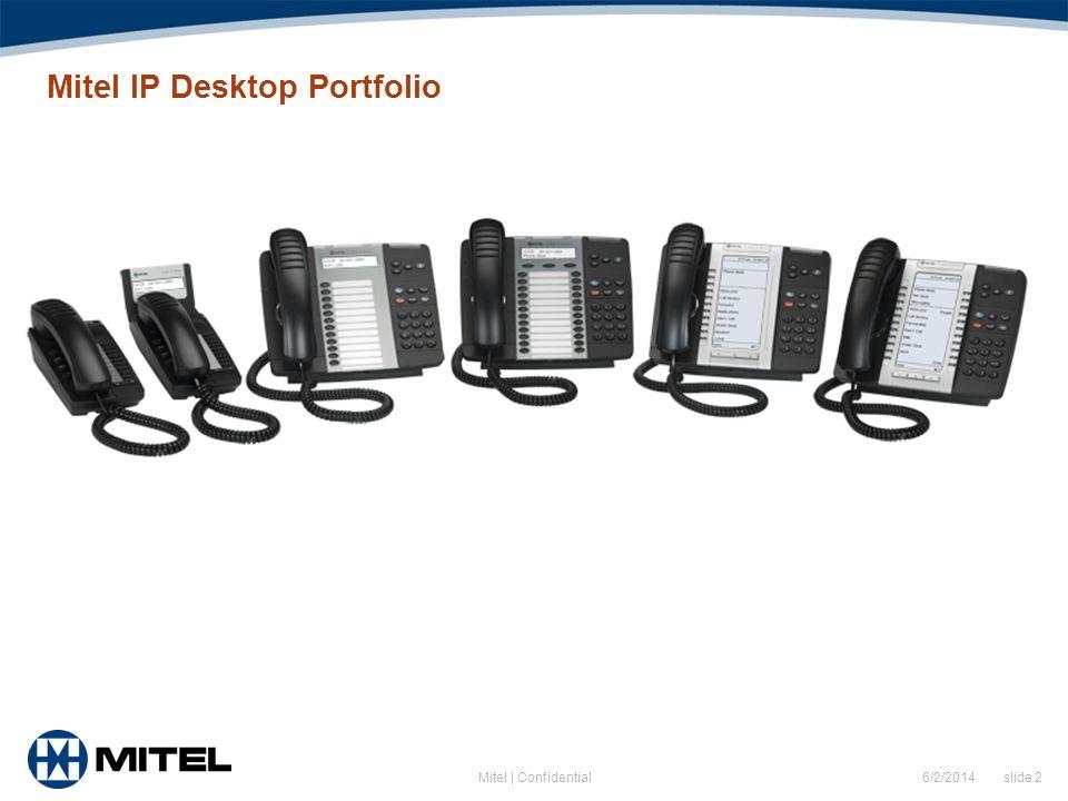 6/2/2014 slide 2Mitel | Confidential Mitel IP Desktop Portfolio