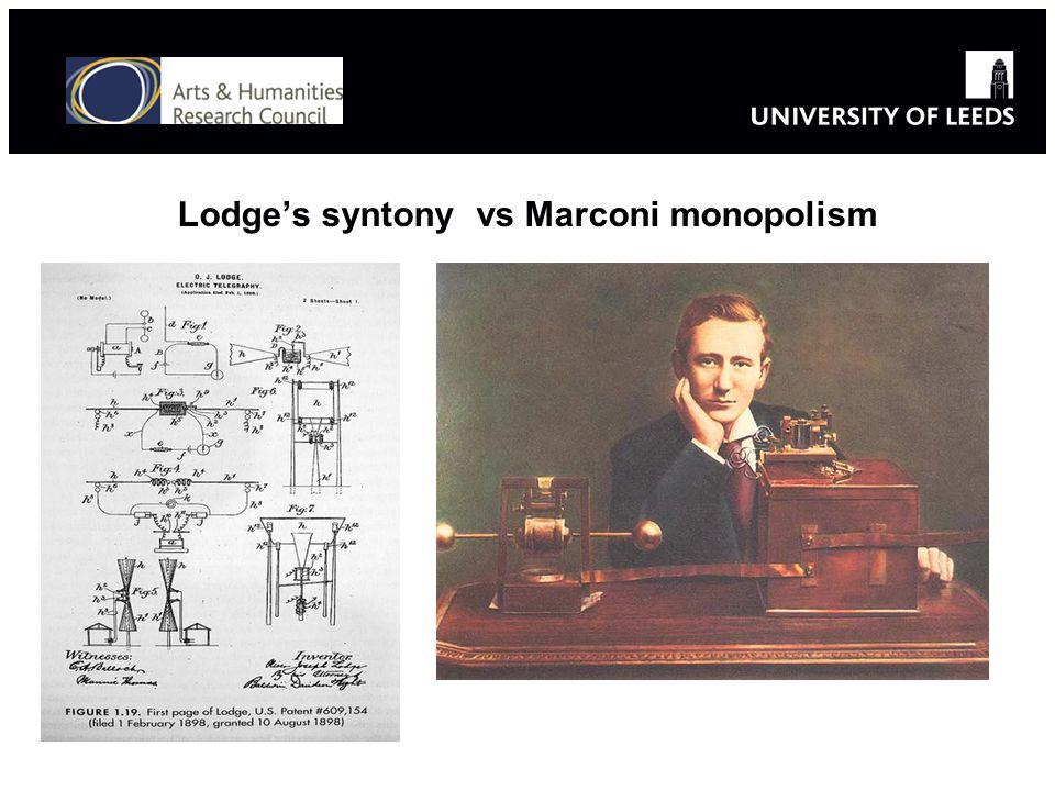 Lodges syntony vs Marconi monopolism