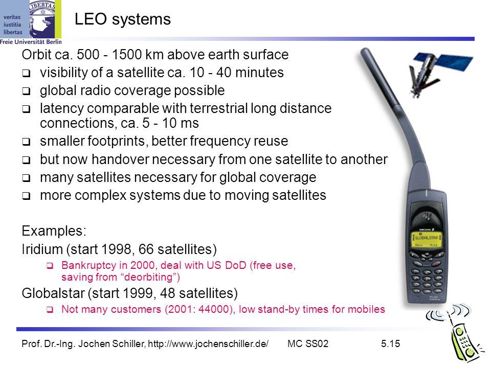 Prof. Dr.-Ing. Jochen Schiller, http://www.jochenschiller.de/MC SS025.15 LEO systems Orbit ca. 500 - 1500 km above earth surface visibility of a satel
