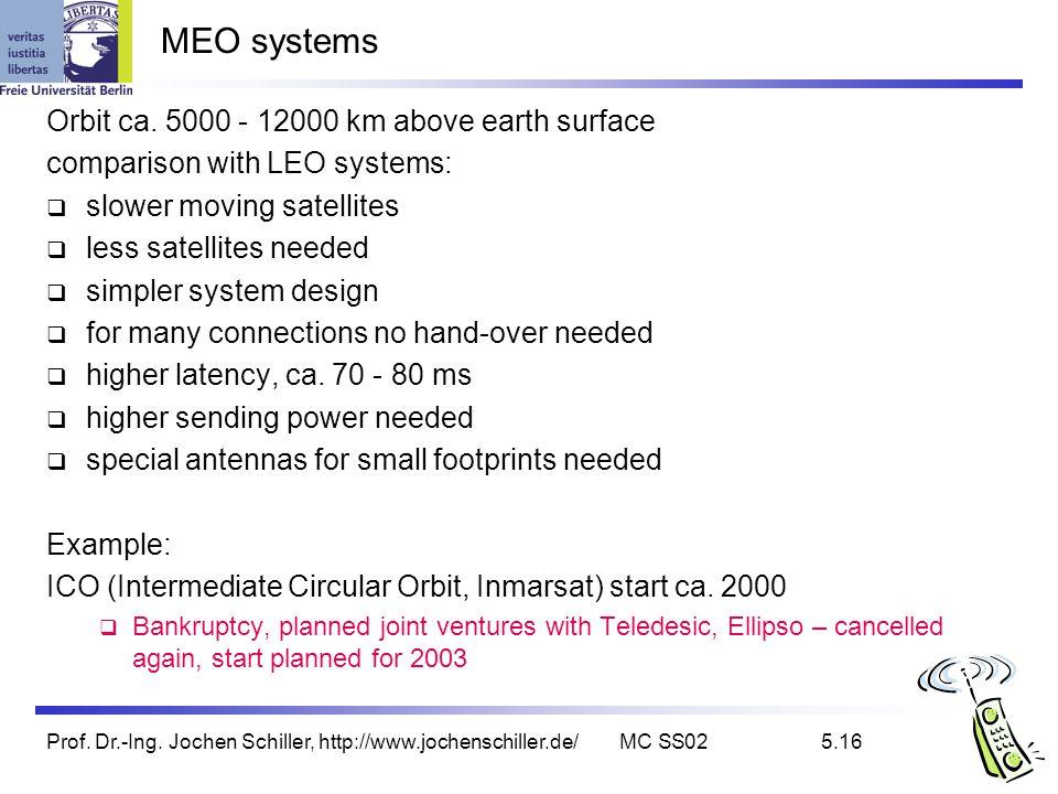 Prof. Dr.-Ing. Jochen Schiller, http://www.jochenschiller.de/MC SS025.16 MEO systems Orbit ca. 5000 - 12000 km above earth surface comparison with LEO