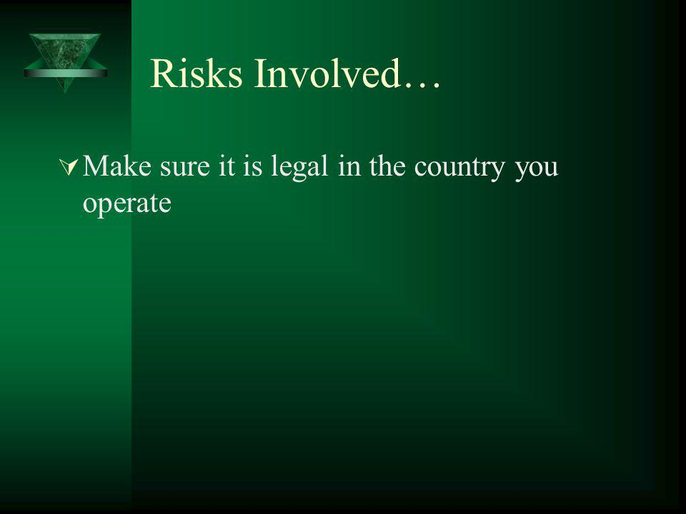 Risks Involved… Make sure it is legal in the country you operate