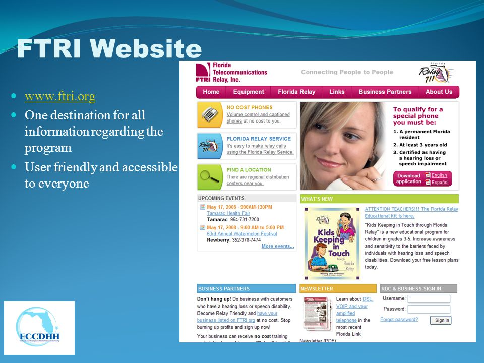 www.ftri.org One destination for all information regarding the program User friendly and accessible to everyone FTRI Website