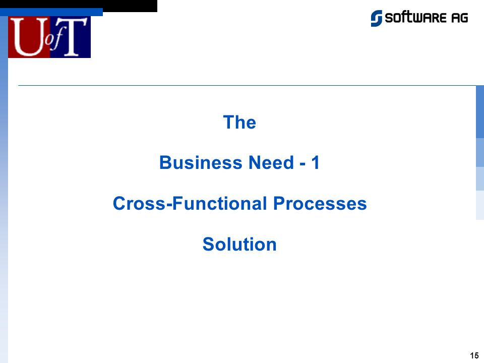 15 The Business Need - 1 Cross-Functional Processes Solution