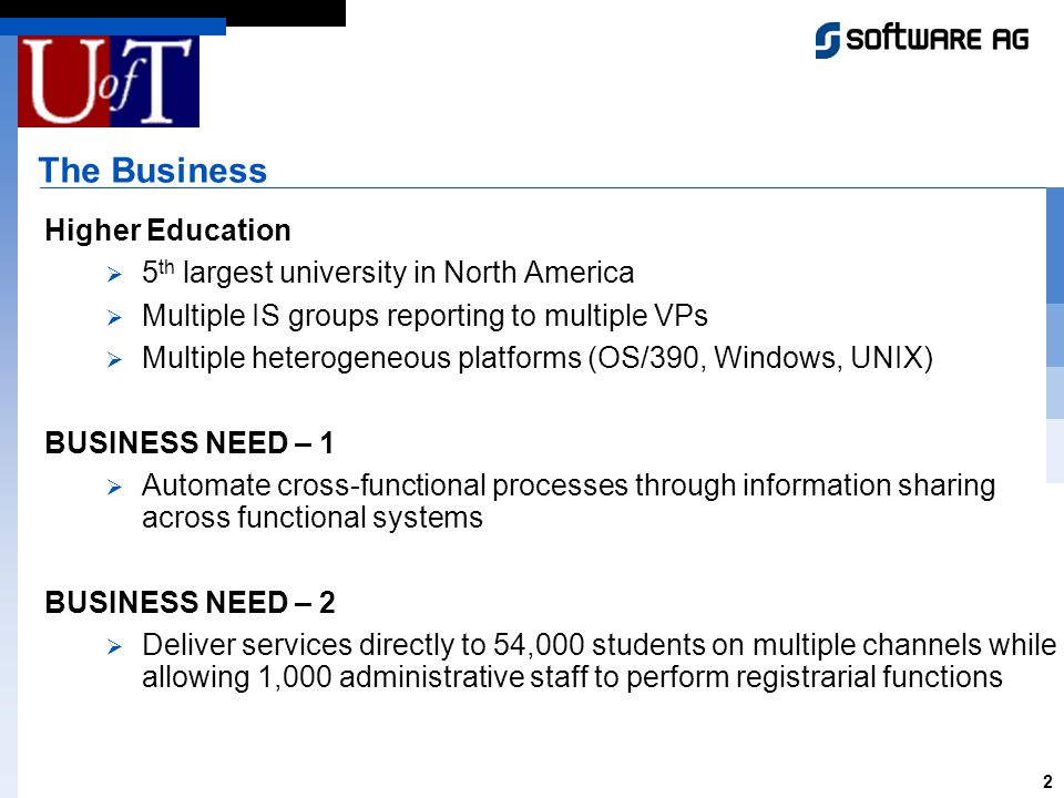 2 The Business Higher Education 5 th largest university in North America Multiple IS groups reporting to multiple VPs Multiple heterogeneous platforms (OS/390, Windows, UNIX) BUSINESS NEED – 1 Automate cross-functional processes through information sharing across functional systems BUSINESS NEED – 2 Deliver services directly to 54,000 students on multiple channels while allowing 1,000 administrative staff to perform registrarial functions