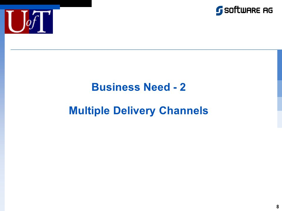 8 Business Need - 2 Multiple Delivery Channels