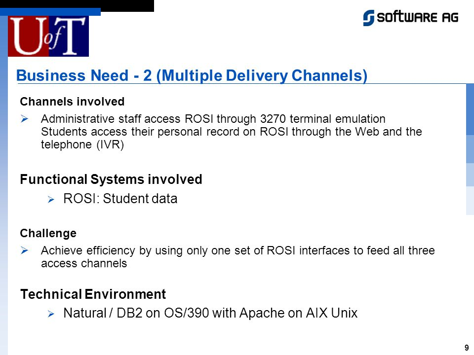 9 Business Need - 2 (Multiple Delivery Channels) Channels involved Administrative staff access ROSI through 3270 terminal emulation Students access their personal record on ROSI through the Web and the telephone (IVR) Functional Systems involved ROSI: Student data Challenge Achieve efficiency by using only one set of ROSI interfaces to feed all three access channels Technical Environment Natural / DB2 on OS/390 with Apache on AIX Unix
