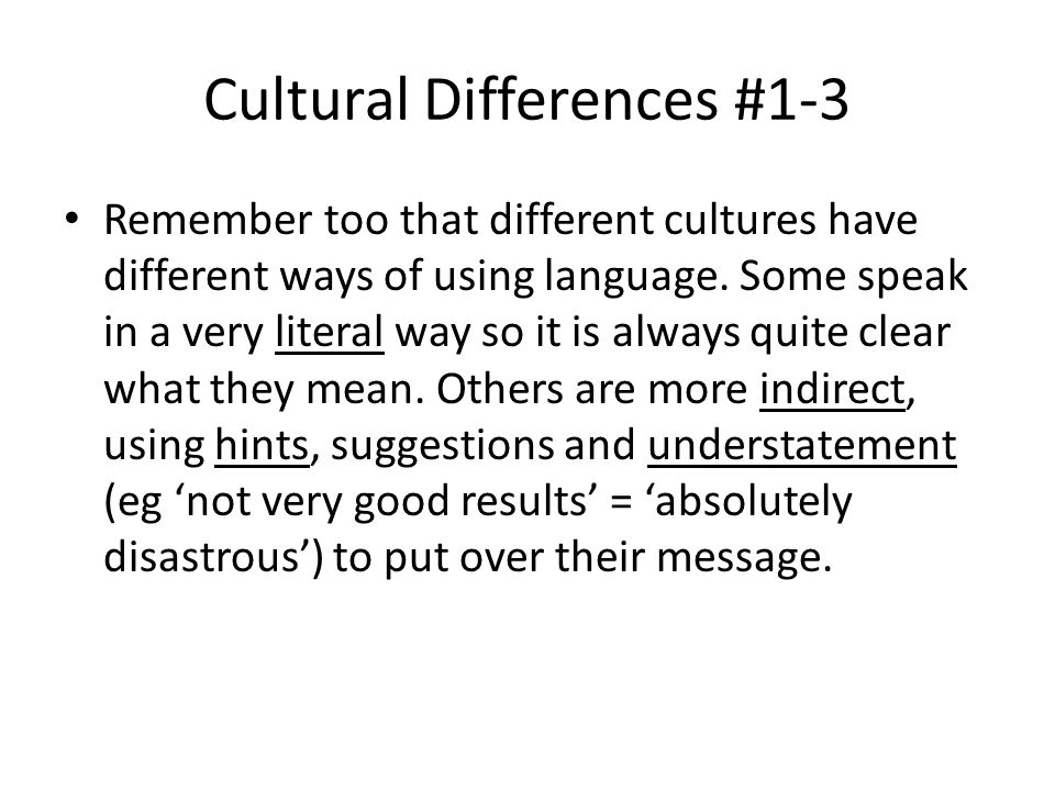 Cultural Differences #1-3 Remember too that different cultures have different ways of using language.