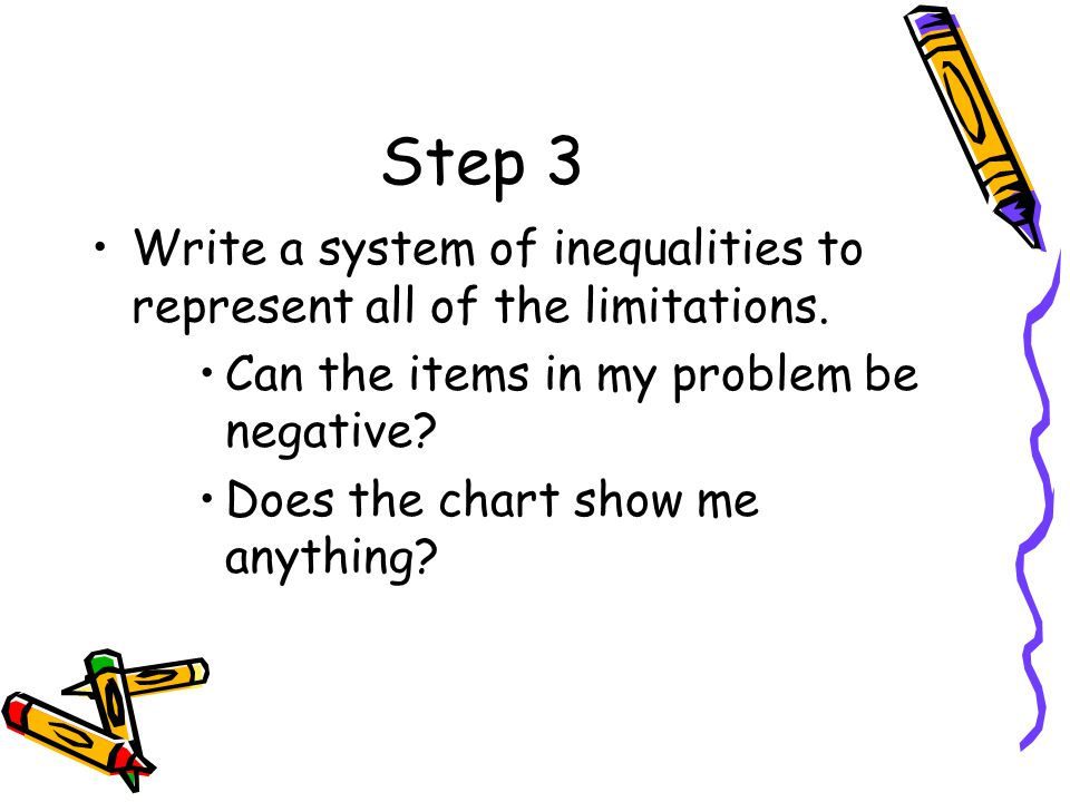 Step 3 Write a system of inequalities to represent all of the limitations. Can the items in my problem be negative? Does the chart show me anything?