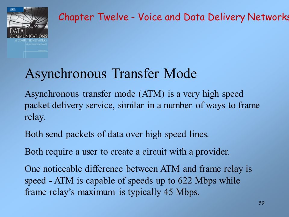 59 Asynchronous Transfer Mode Asynchronous transfer mode (ATM) is a very high speed packet delivery service, similar in a number of ways to frame rela