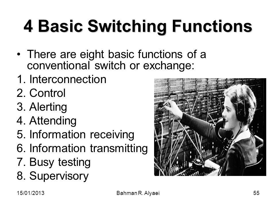 15/01/2013Bahman R. Alyaei55 4 Basic Switching Functions There are eight basic functions of a conventional switch or exchange: 1. Interconnection 2. C