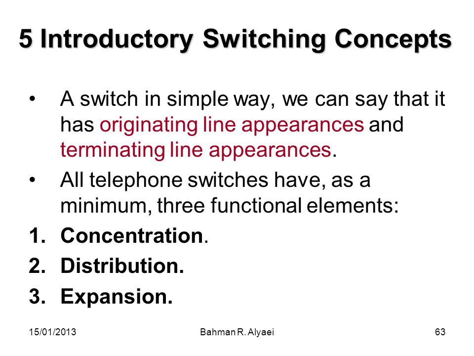 15/01/2013Bahman R. Alyaei63 5 Introductory Switching Concepts A switch in simple way, we can say that it has originating line appearances and termina