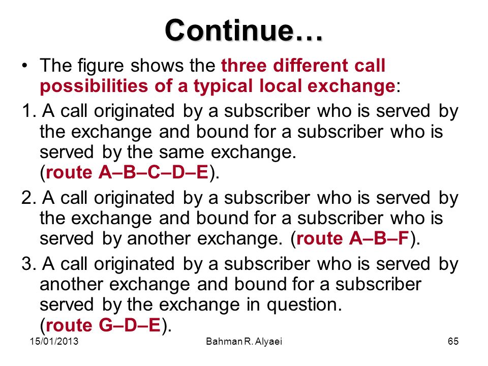 15/01/2013Bahman R. Alyaei65 Continue… The figure shows the three different call possibilities of a typical local exchange: 1. A call originated by a