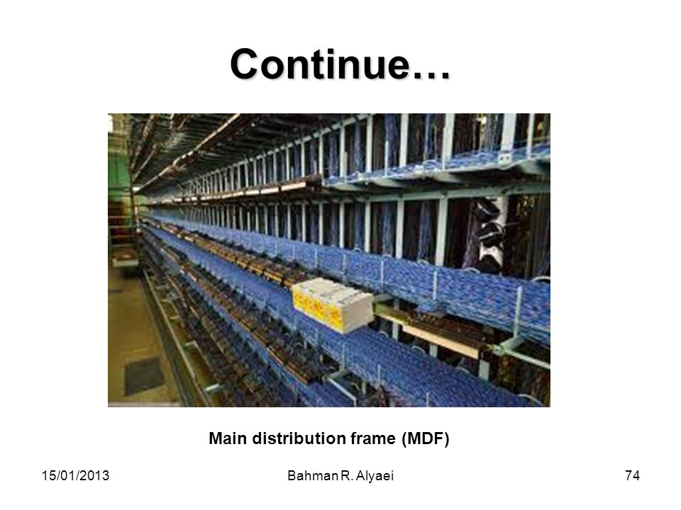 15/01/2013Bahman R. Alyaei74 Continue… Main distribution frame (MDF)
