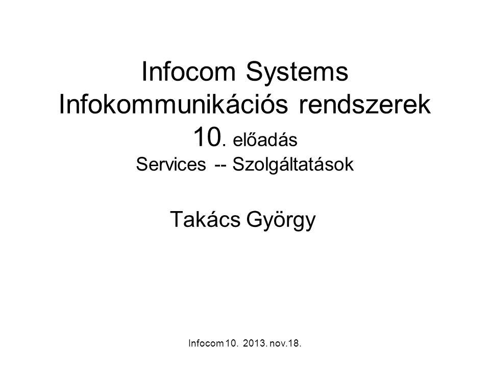 Infocom 10. 2013. nov.18. Infocom Systems Infokommunikációs rendszerek 10. előadás Services -- Szolgáltatások Takács György
