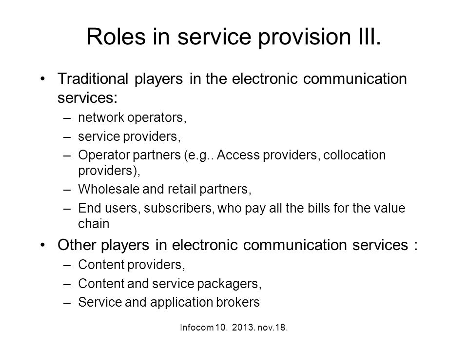 Roles in service provision III.