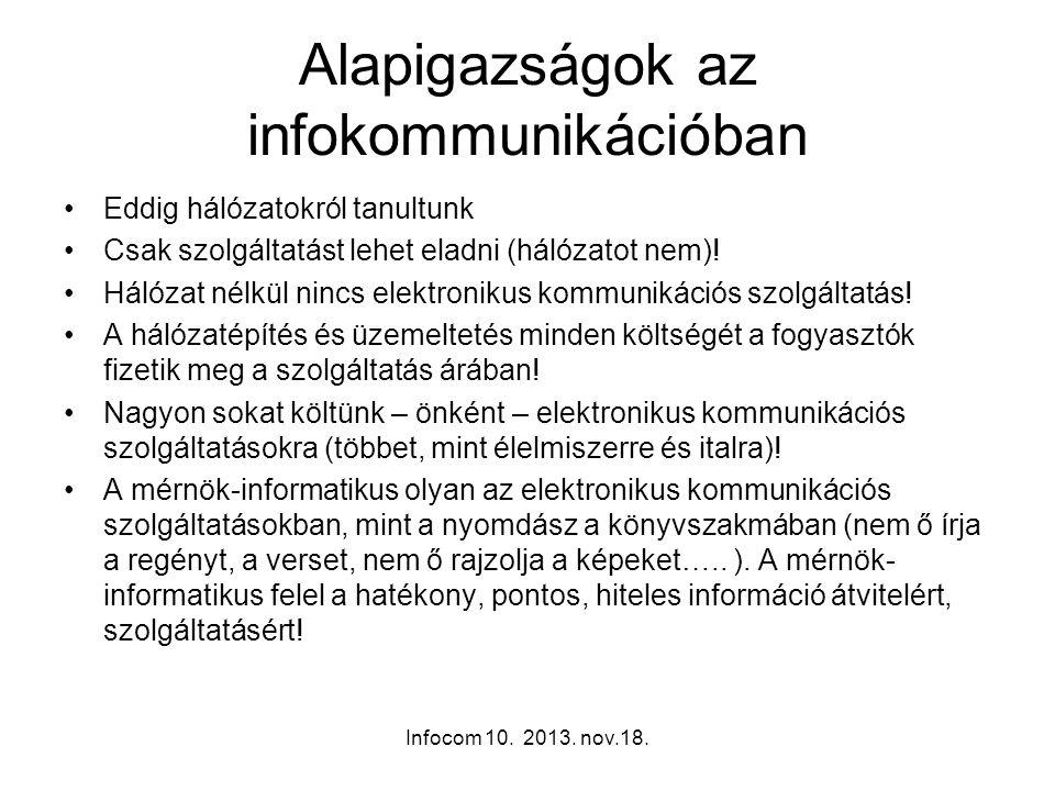 Infocom 10. 2013. nov.18. Alapigazságok az infokommunikációban Eddig hálózatokról tanultunk Csak szolgáltatást lehet eladni (hálózatot nem)! Hálózat n