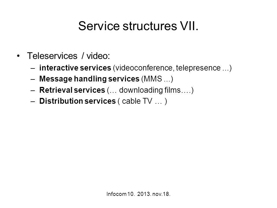 Infocom 10. 2013. nov.18. Service structures VII. Teleservices / video: –interactive services (videoconference, telepresence...) –Message handling ser