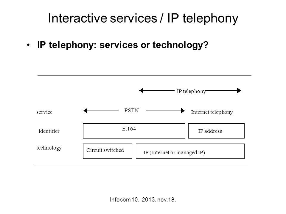 Infocom 10. 2013. nov.18. Interactive services / IP telephony IP telephony: services or technology? service identifier technology PSTN Internet teleph