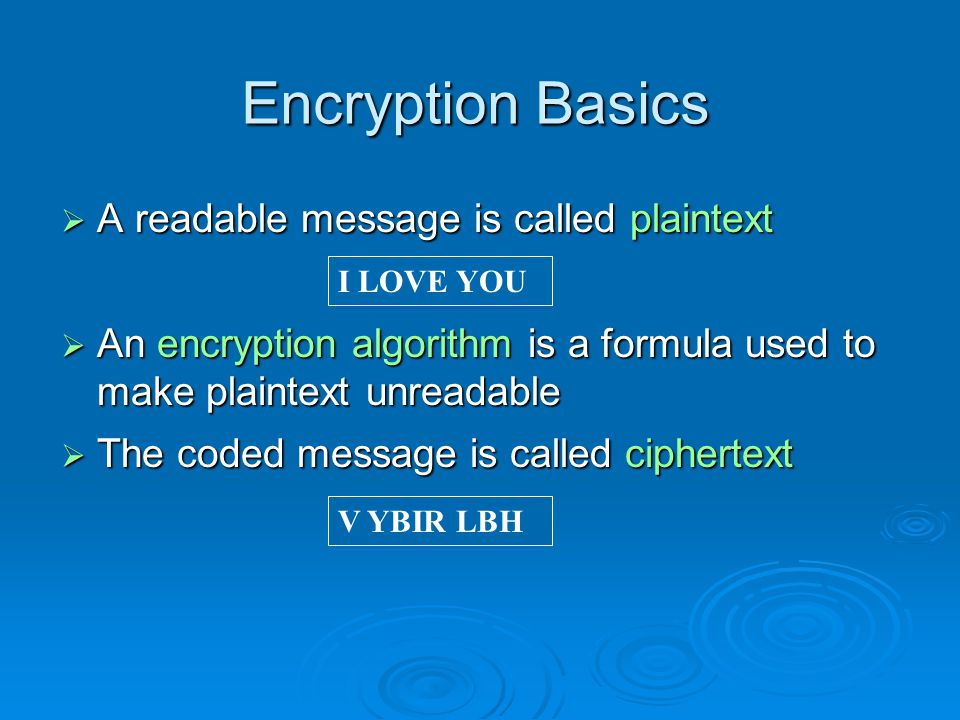 Encryption Basics A readable message is called plaintext A readable message is called plaintext An encryption algorithm is a formula used to make plaintext unreadable An encryption algorithm is a formula used to make plaintext unreadable The coded message is called ciphertext The coded message is called ciphertext I LOVE YOU V YBIR LBH