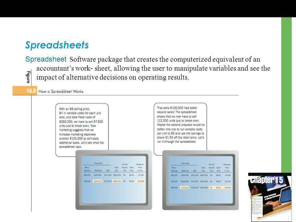 Spreadsheets Spreadsheet Software package that creates the computerized equivalent of an accountants work- sheet, allowing the user to manipulate variables and see the impact of alternative decisions on operating results.
