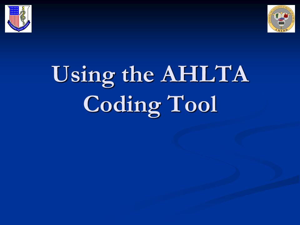 Using the AHLTA Coding Tool
