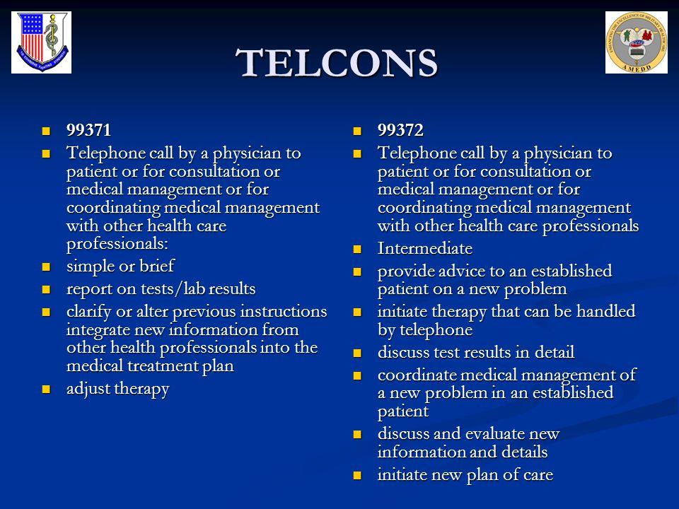 TELCONS 99371 99371 Telephone call by a physician to patient or for consultation or medical management or for coordinating medical management with oth