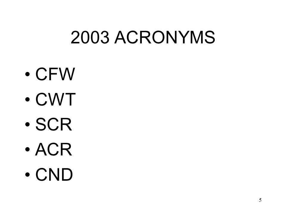 5 2003 ACRONYMS CFW CWT SCR ACR CND