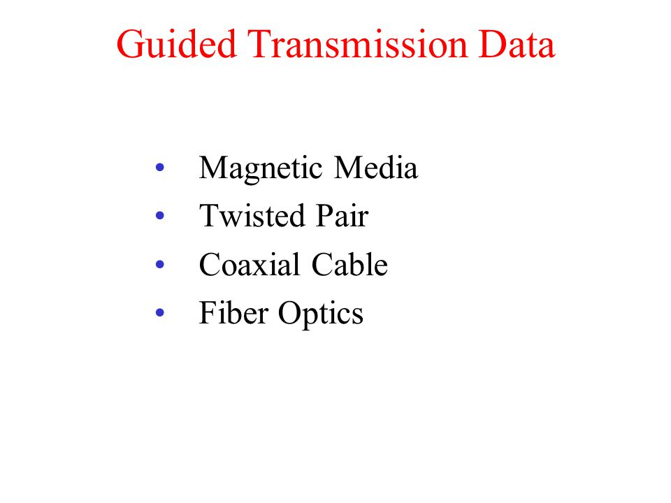 Guided Transmission Data Magnetic Media Twisted Pair Coaxial Cable Fiber Optics