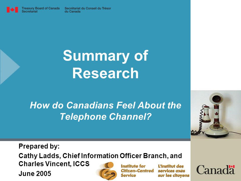 Summary of Research How do Canadians Feel About the Telephone Channel.