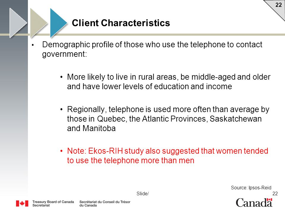 22 Slide/ Client Characteristics Demographic profile of those who use the telephone to contact government: More likely to live in rural areas, be midd