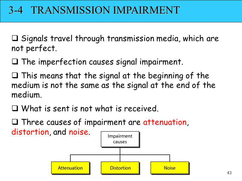3-4 TRANSMISSION IMPAIRMENT Signals travel through transmission media, which are not perfect. The imperfection causes signal impairment. This means th