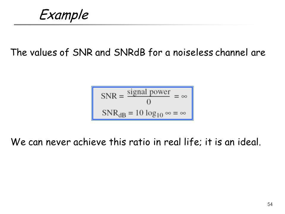 The values of SNR and SNRdB for a noiseless channel are We can never achieve this ratio in real life; it is an ideal. 54 Example