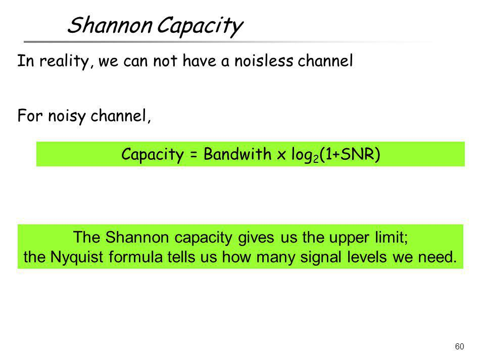 The Shannon capacity gives us the upper limit; the Nyquist formula tells us how many signal levels we need. 60 Shannon Capacity In reality, we can not