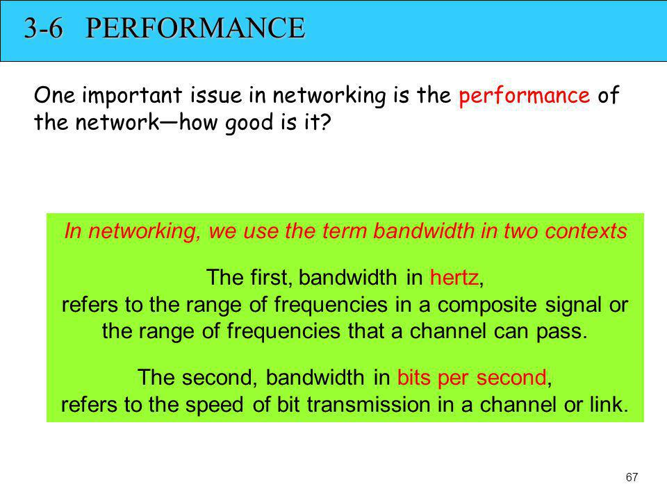 3-6 PERFORMANCE One important issue in networking is the performance of the networkhow good is it? In networking, we use the term bandwidth in two con