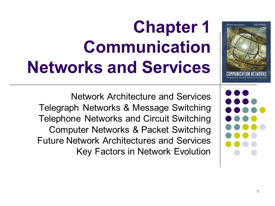 1 Chapter 1 Communication Networks and Services Network Architecture and Services Telegraph Networks & Message Switching Telephone Networks and Circui