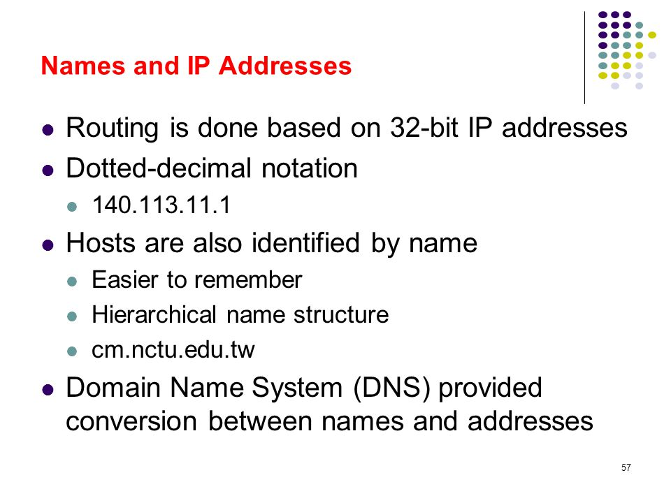 57 Names and IP Addresses Routing is done based on 32-bit IP addresses Dotted-decimal notation 140.113.11.1 Hosts are also identified by name Easier t