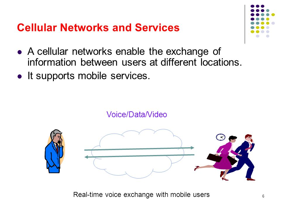 6 Cellular Networks and Services Voice/Data/Video Real-time voice exchange with mobile users A cellular networks enable the exchange of information be