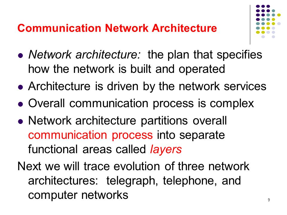 60 Essential Elements of Computer Network Architecture Congestion control inside the network Internetworking across multiple networks using routers Segmentation and reassembly of messages into packets at the ingress to and egress from a network or internetwork End-to-end transport protocols for process-to-process communications Applications that build on the transfer of messages between computers.
